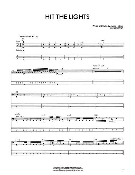 metallica hit the lights lyrics metallica hit the lights sheet music