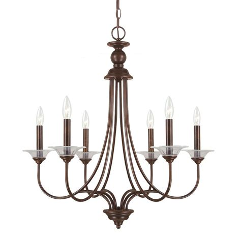 6 Light Pendant Chandelier Shop Sea Gull Lighting Lemont 27 In 6 Light Burnt Vintage Candle Chandelier At Lowes