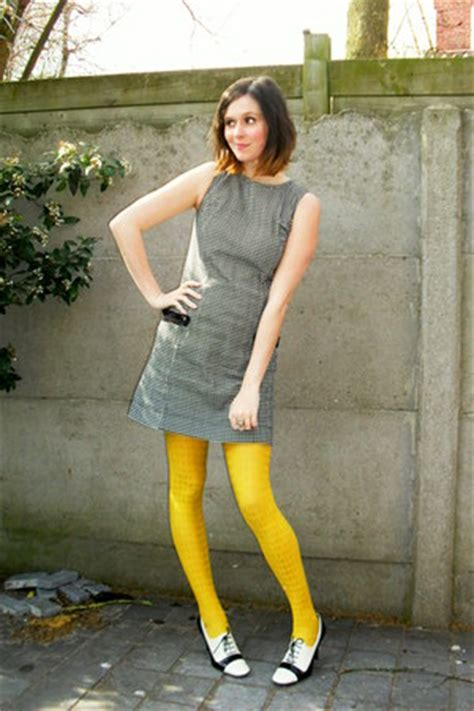 white shoes black dresses yellow tights quot houndstooth