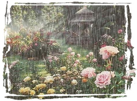 gazebo rainy days rainy day in the garden nature animated roses garden