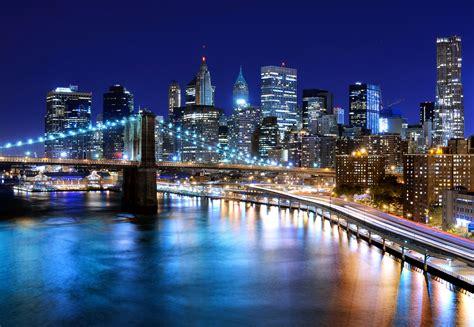 lights cities photos york city usa bridges rivers skyscrapers