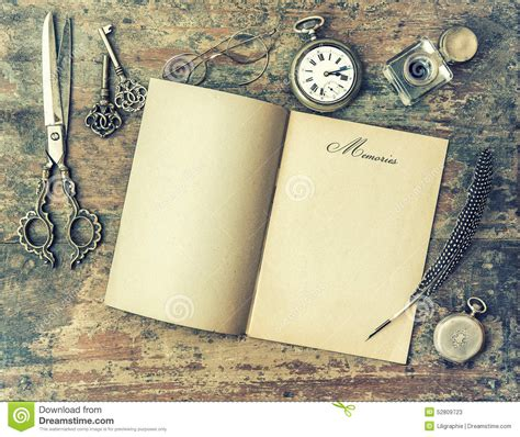 Memories Paper - paper page and vintage writing tools memories retro
