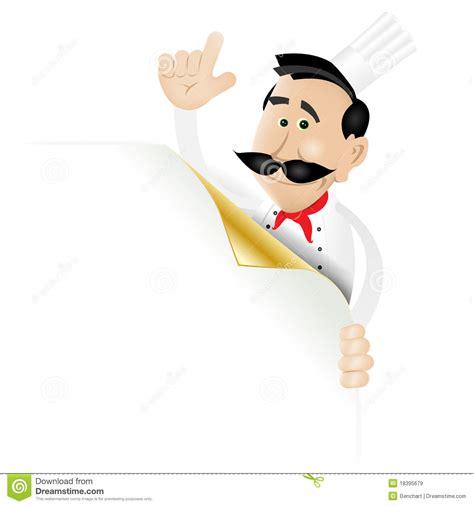 dat menu het menu dat de chef kok een pagina de hoek houdt royalty vrije stock