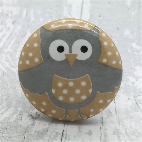 happy owl ceramic door knob cupboard handle by g decor