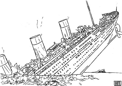 how to draw sinking titanic