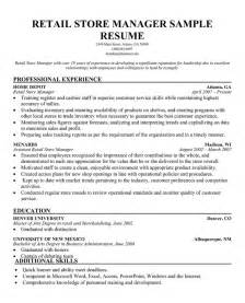 Resume For Store Manager by Ma Resume Objective Exles Ebook Database