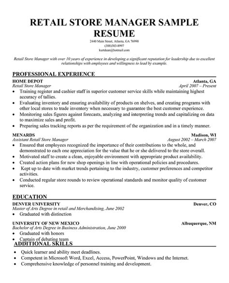 Resume Exles For Retail Stores Sle Resumes Retail Resume Cv Cover Letter