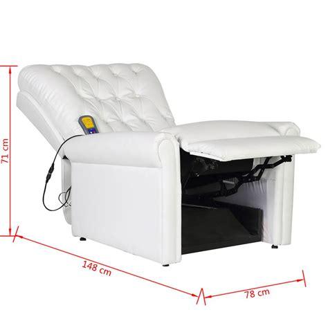 sillon reclinable blanco sill 243 n de masaje reclinable de piel sint 233 tica blanco