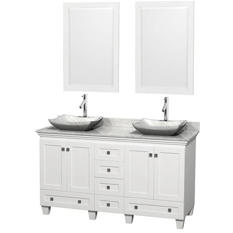 60 Inch White Bathroom Vanity Wyndham Collection Wcv800060dwhcmgs3m24 Acclaim 60 Inch Bathroom Vanity In White White
