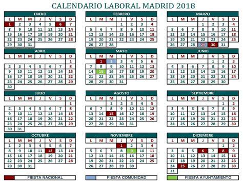 Calendario Laboral 2018 Mexico Calendario Laboral 2018 Comunidad De Madrid Pongamos Que