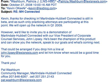 Cold Call Email Inquiry by Martindale Hubbell Connected Pr Time For