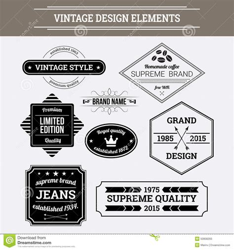 design elements style vintage vector design elements retro style typographic