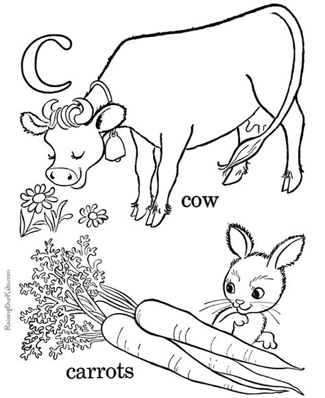 with the letter c begin coloring pages