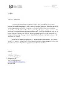 letter of recommendation residency letter of