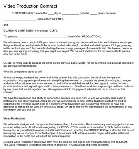 Video Production Contract 6 Printable Contract Sles Videography Price List Template