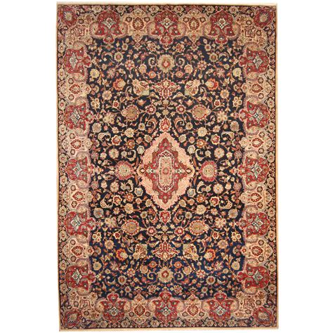 10 X 15 Wool Rug by Knotted 1960s Semi Antique Isfahan Wool Rug