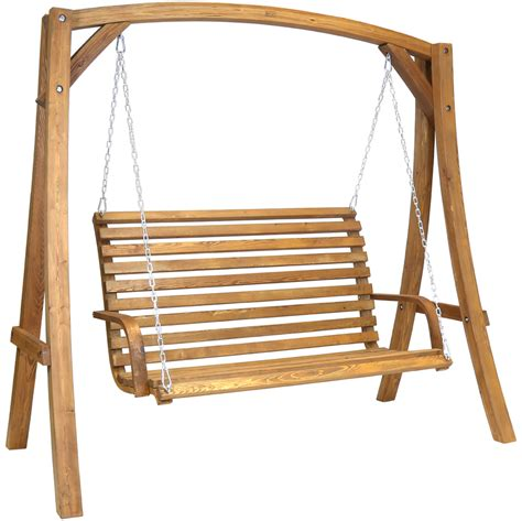swing bench seat 2 3 seater larch wood wooden garden outdoor swing seat