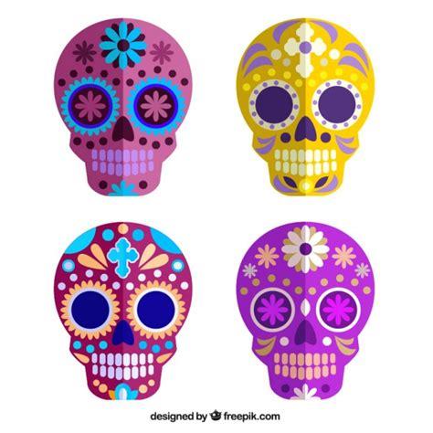 colorful skull colorful sugar skulls vector free