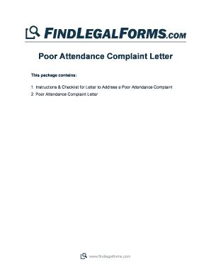 Explanation Letter For Poor Attendance Complaint Letter Forms And Templates Fillable Printable Sles For Pdf Word Pdffiller