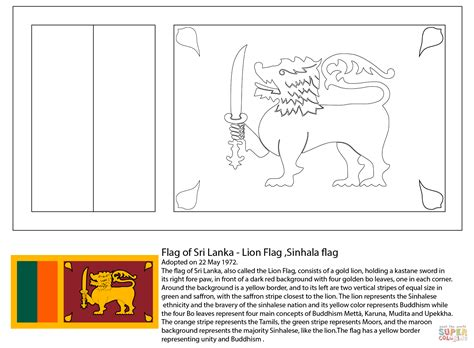 flag of sri lanka coloring page free printable coloring