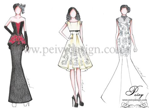 sketsa desain dress batik pre wedding dress part 1 by peivy design peivy design