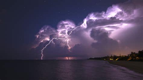 nature landscape clouds lightning storm horizon sea