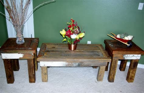 Reclaimed Rustics Rustic Coffee Table Matching End Tables Rustic Coffee Table And End Tables