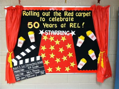 biological themes in film class school bulletin board roll out the red carpet popcorn
