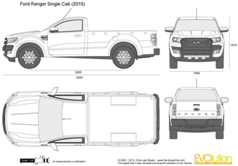 ford ranger single cab vector drawing