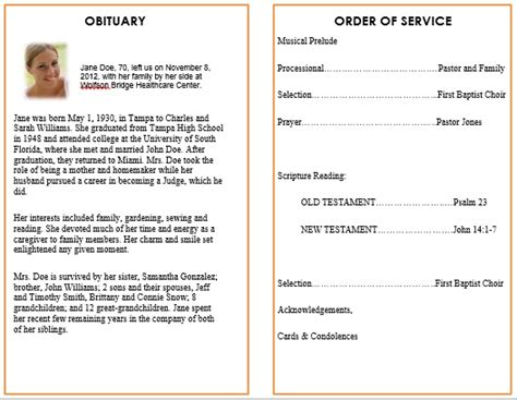 ideas for funeral service cards programs exles