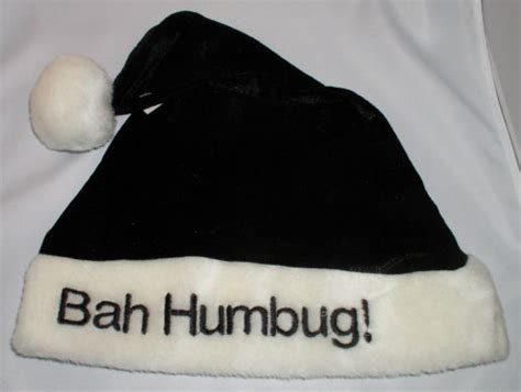 santa hat black bah humbug funny holiday christmas cap