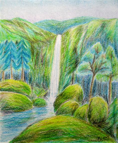 How To Draw A River With Colored Pencils