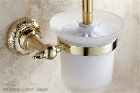 Gold Plated Bathroom Accessories Gold Toilet Brush Set Toilet Cup Fashion Bathroom Accessories Vacuum Plated Gold