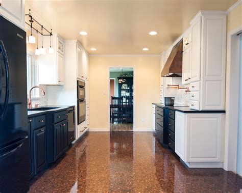 Black, white, and copper Kitchen remodel   Transitional