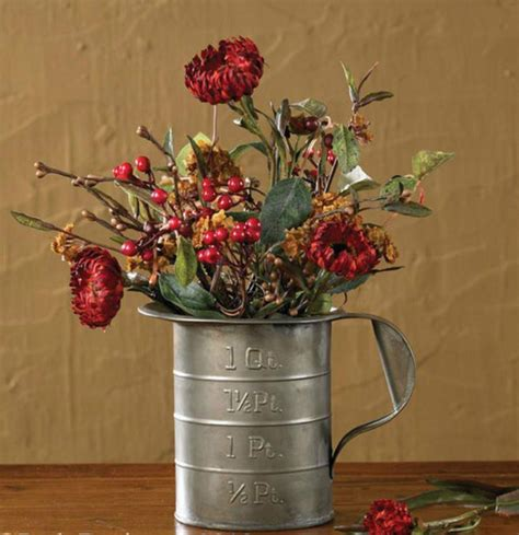 Flower Kitchen Decor by Tin Measuring Cup Country Kitchen Home Decor Flower Vase