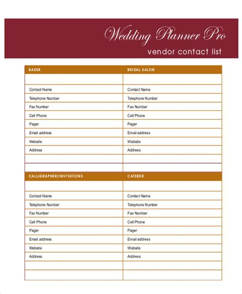 6 wedding planner printable sle exles in word pdf