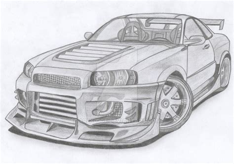 nissan skyline drawing step by step r34 and supra drawing 171 subconscious