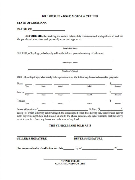 bill of sale for boat motor and trailer 30 sle bill of sale forms