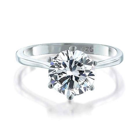 925 sterling silver cz solitaire engagement ring