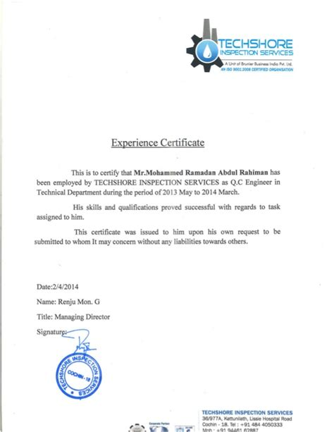 Work Experience Certificate Electrical Engineer Q C Engineer Experience Certificate From Techshore
