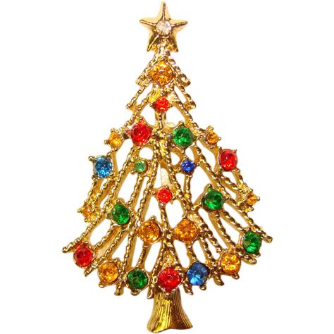 awesome vintage christmas tree rhinestone brooch from
