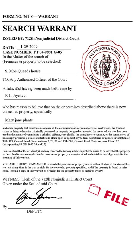 Ga Warrant Search Search Warrant Court Form Prank Forgery