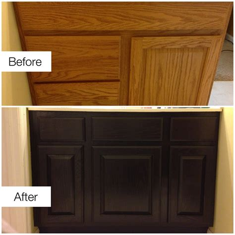 before after staining golden oak cabinets