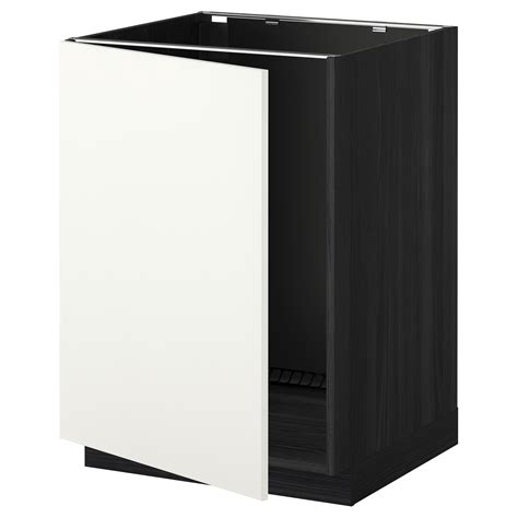 Ikea Kitchen Base Cabinets Metod Base Cabinet For Sink Black H 228 Ggeby White 60x60 Cm Ikea