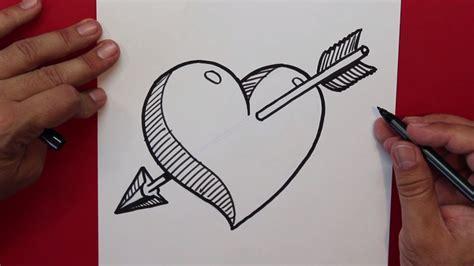 imagenes chidas y faciles para dibujar c 243 mo dibujar un corazon atravesado por una flecha how to