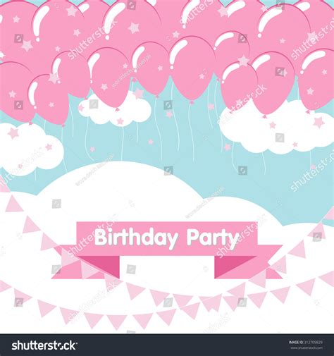 birthday pattern pink vector birthday background light pink balloons flat stock vector