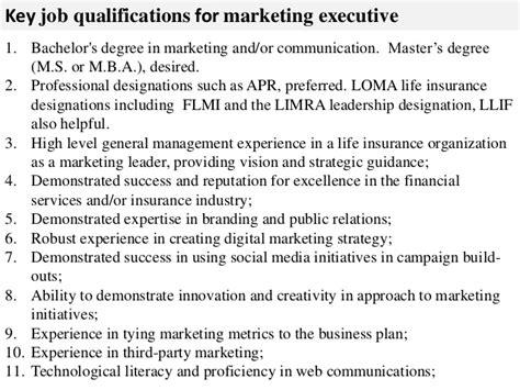 marketing executive description
