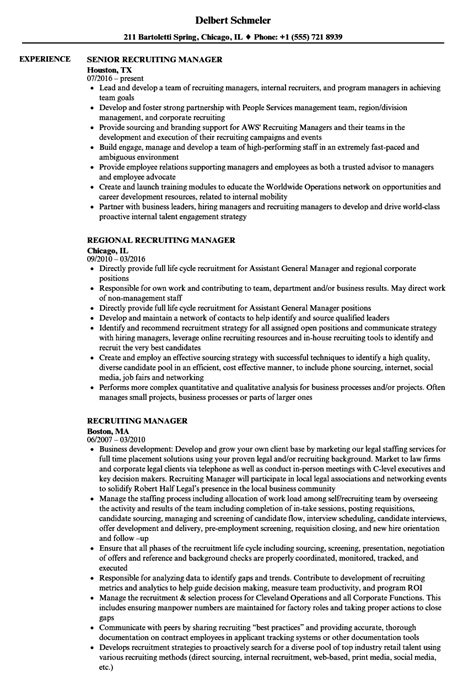 recruiting manager resume sles velvet jobs