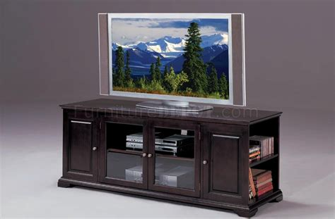 espresso finish modern tv stand w glass doors side shelves