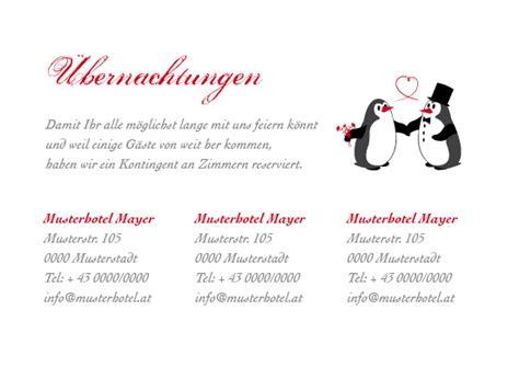 Hochzeitseinladung Unterkunft by Einlagekarten S 252 223 E Pinguine Romantisch